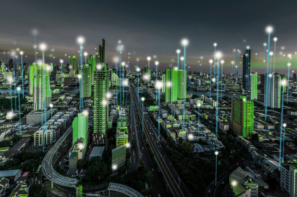 Smart,city,and,dot,point,connect,modern,telecom,system,,boundless