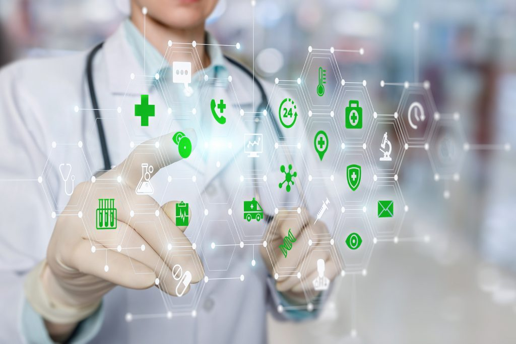 Doctor,working,on,a,virtual,screen,behind,the,structure,of
